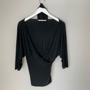 Diane Von Furstenburg DVF Black Wrap Top Large